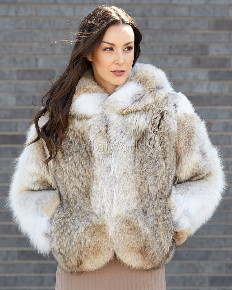 The Annabella Coyote Fur Bolero Jacket for Women