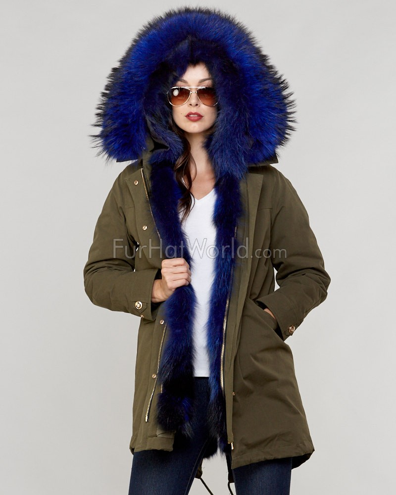 The Colonel Finn Raccoon Fur Lined Military Parka in Blue