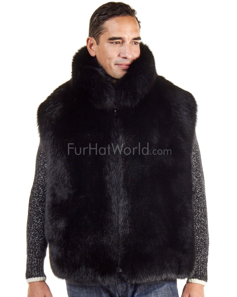 The Ethan Black Fox Fur Vest for Men