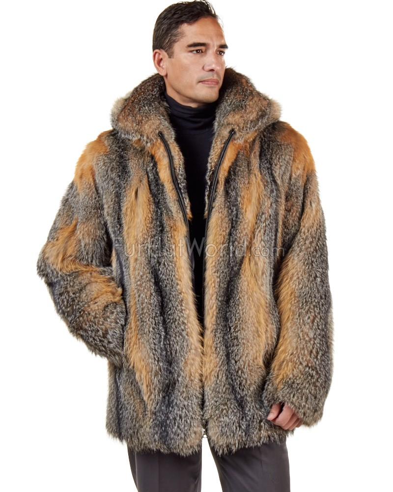 8c9027863f The Hudson Mid Length Grey Fox Fur Coat for Men: FurHatWorld.com