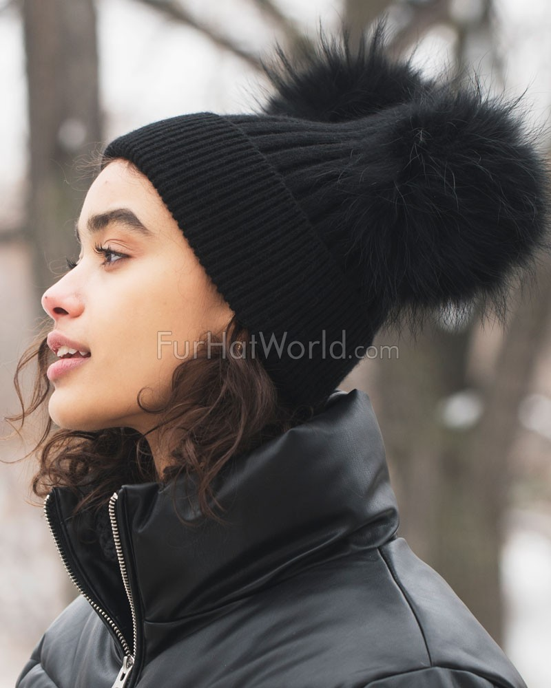 The Ky Double Pom Pom Beanie Hat in Black  FurHatWorld.com 70407051122