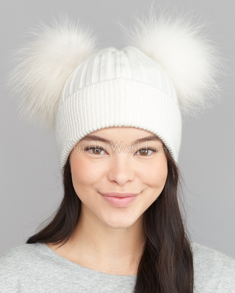 The Ky Double Pom Pom Beanie Hat in White