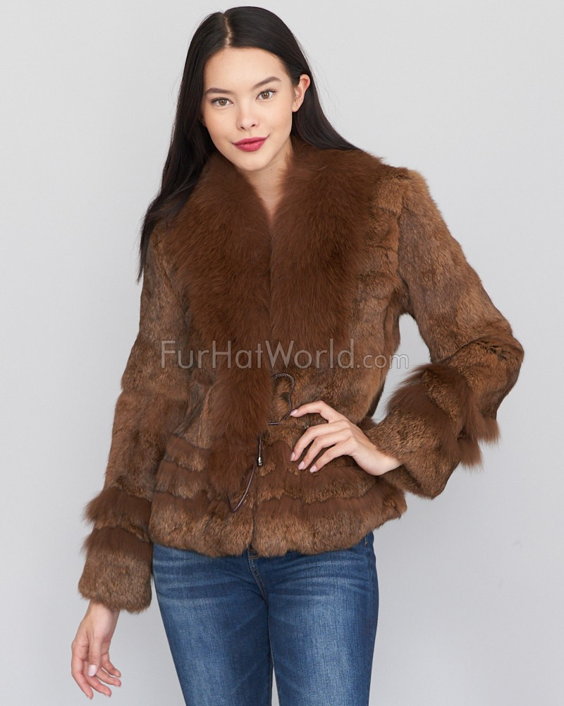 The Kylie Rabbit Fur Jacket with Fox Collar in Brown