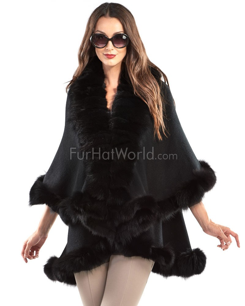 The Lana Double Layer Black Fox Fur Cape