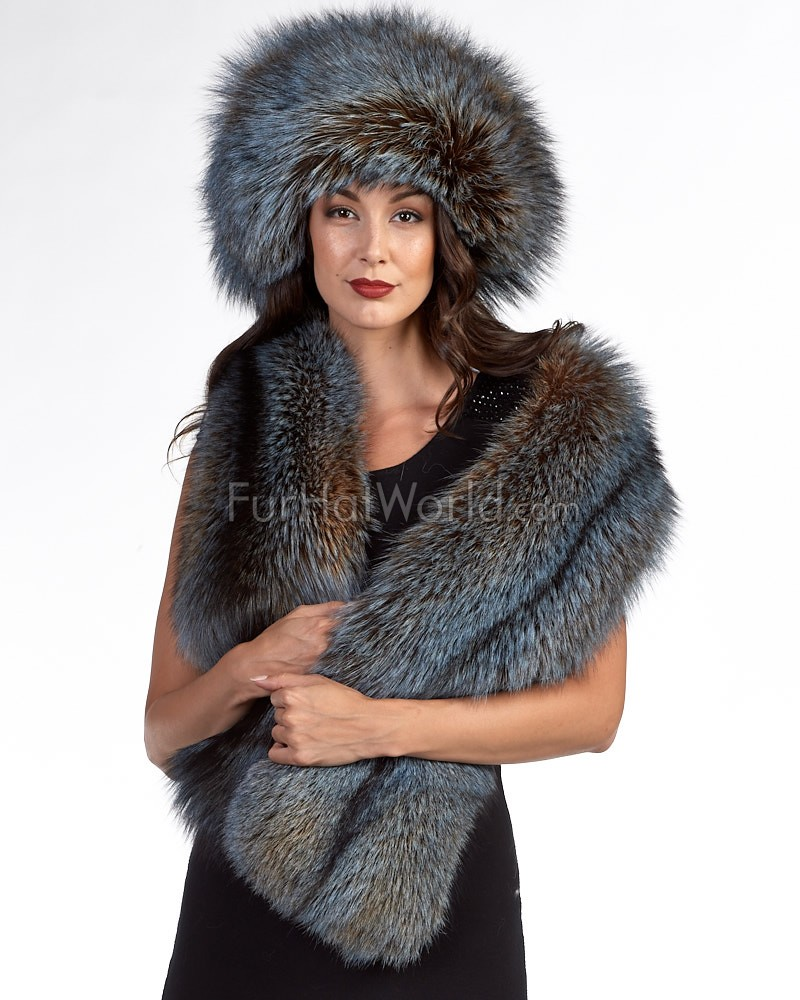 The Liberty Fox Fur Stole in Dusk