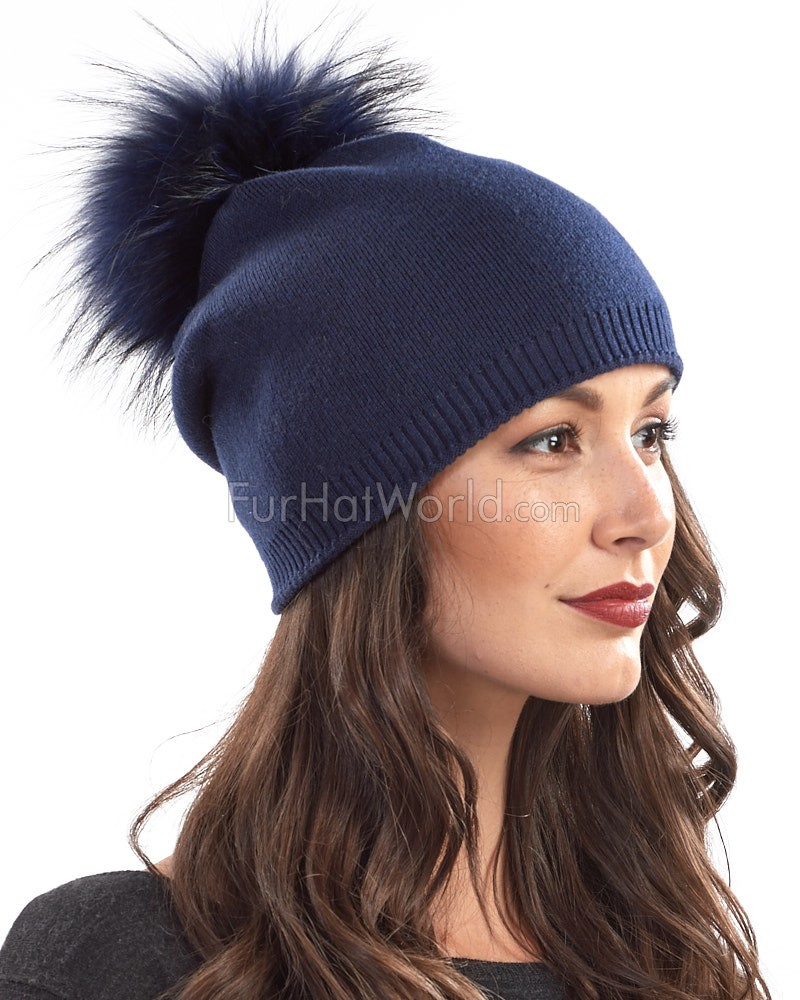 The Lyric Navy Slouchy Beanie Hat with Finn Raccoon Pom Pom