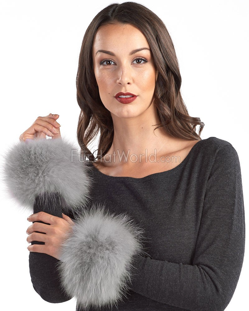 The Maci Knit Fox Fur Cuffs in Grey