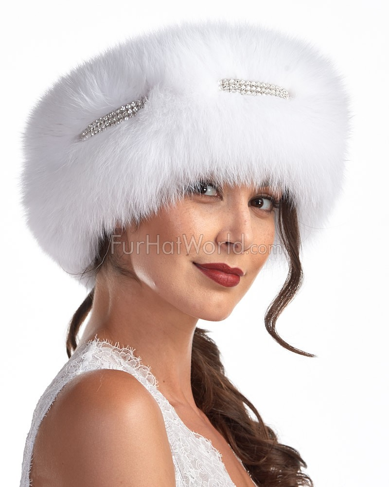 The Princess Fox Fur Rhinestone Headband in White