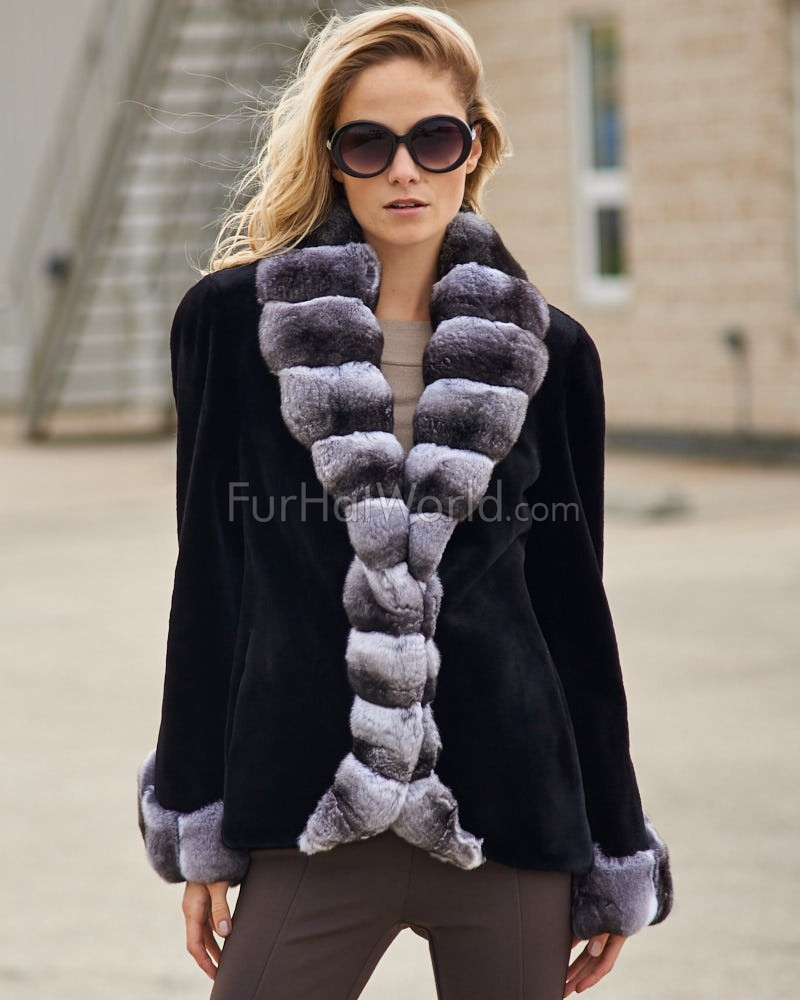 The Royal Black Sheared Mink Jacket with Chinchilla Trim