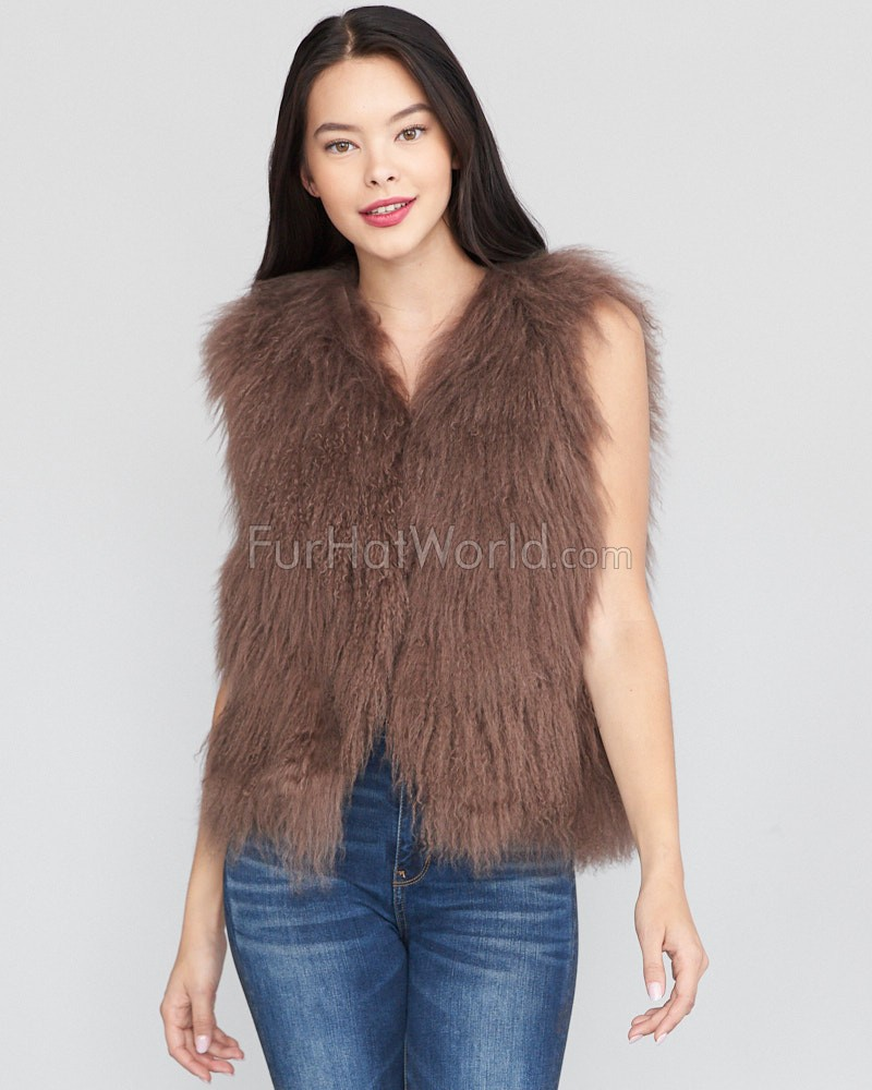 The Ryleigh Mongolian Lamb Fur Vest in Brown