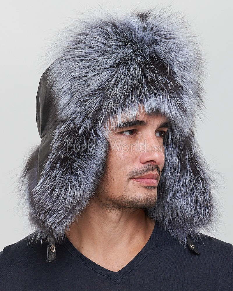 299d47648ae The Whistler Silver Fox Fur Leather Trapper Hat for Men  FurHatWorld.com