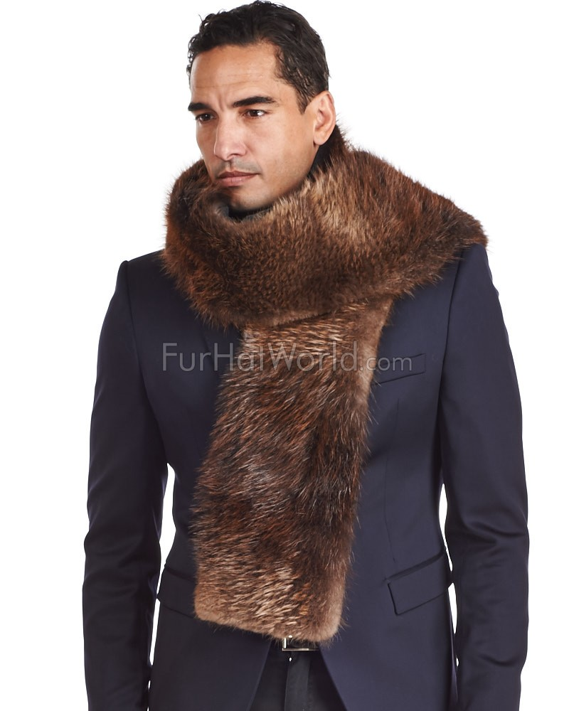 Thomas Beaver Fur and Cashmere Scarf For Men