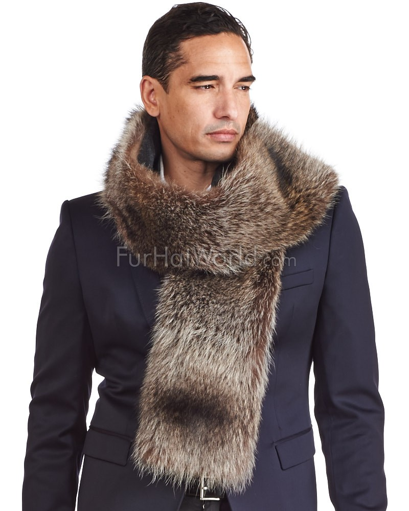 Thomas Raccoon Fur and Cashmere Scarf For Men