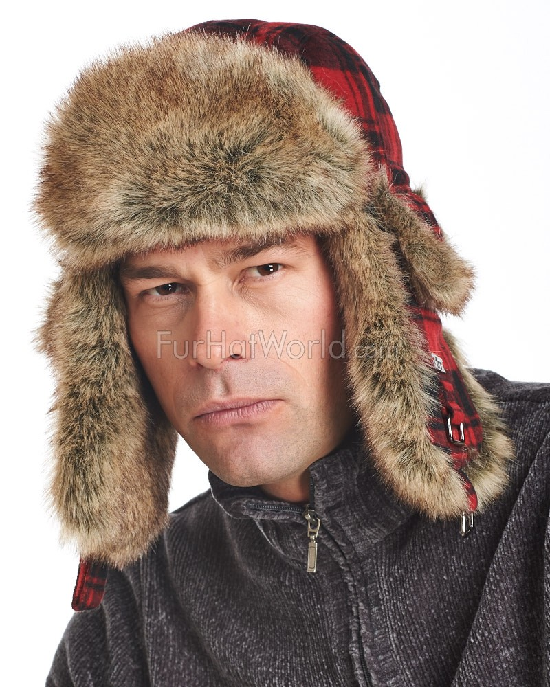 Red Buffalo Check Faux Fur Trapper Hat