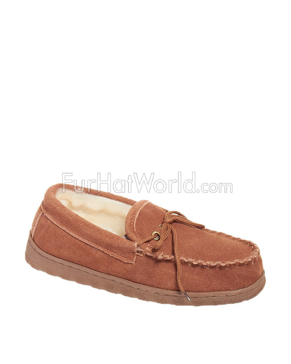 0164834ed7a8 Sheepskin Slippers - Traditional Moccasin  FurHatWorld.com