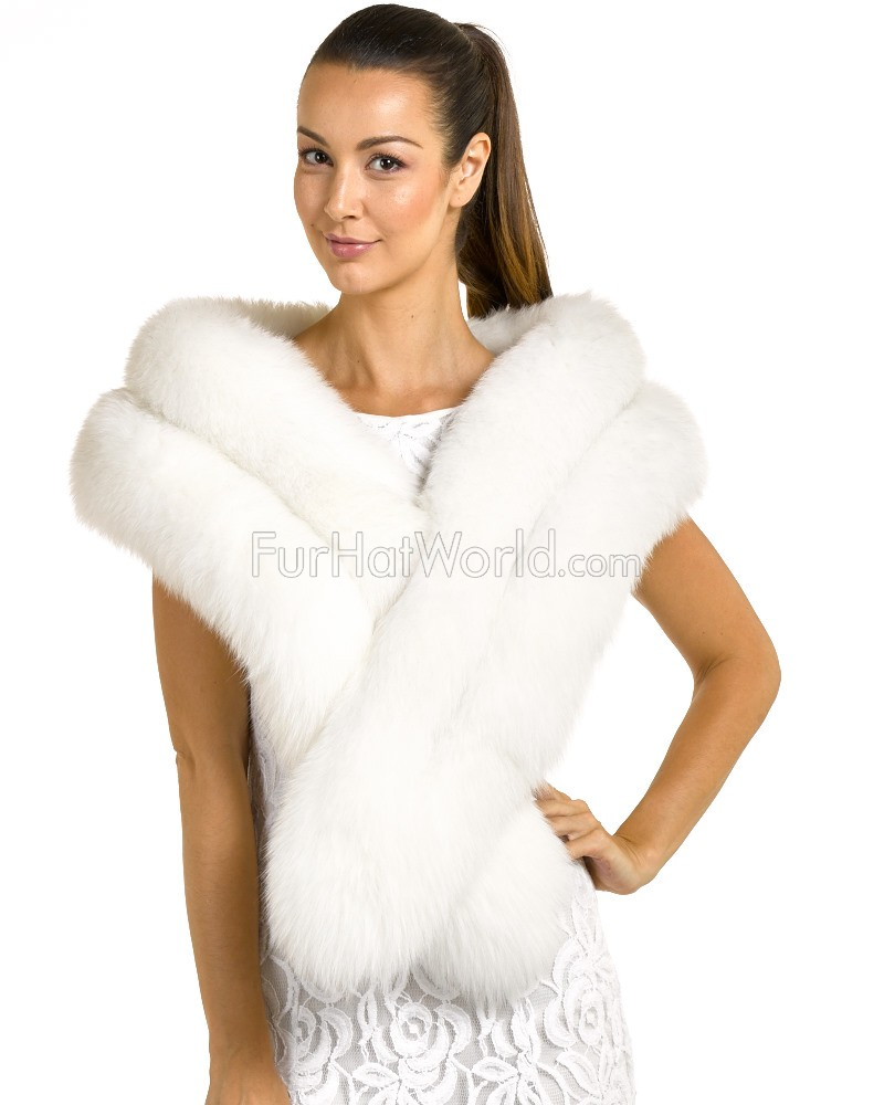 Two Tier Fox Fur Stole - White