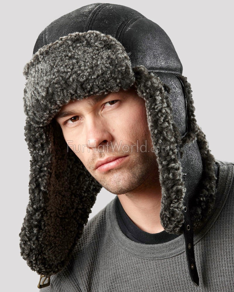 Ultimate Shearling Sheepskin Aviator Hat - Black
