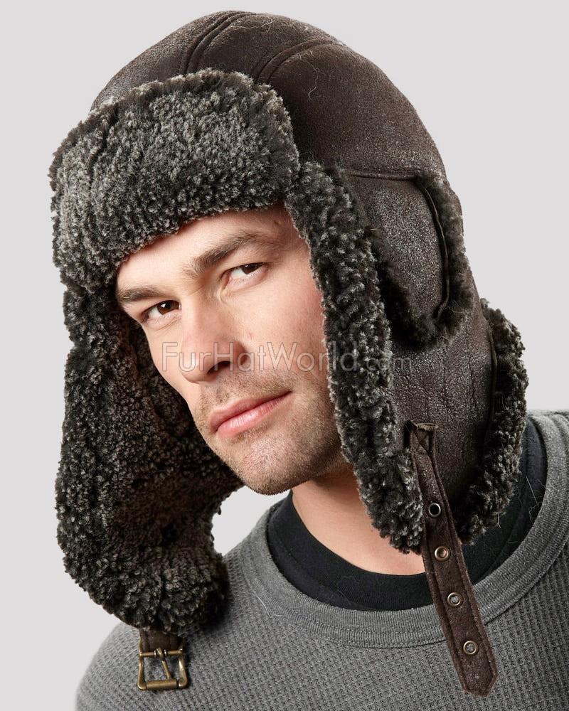 Ultimate Shearling Sheepskin Aviator Hat - Brown