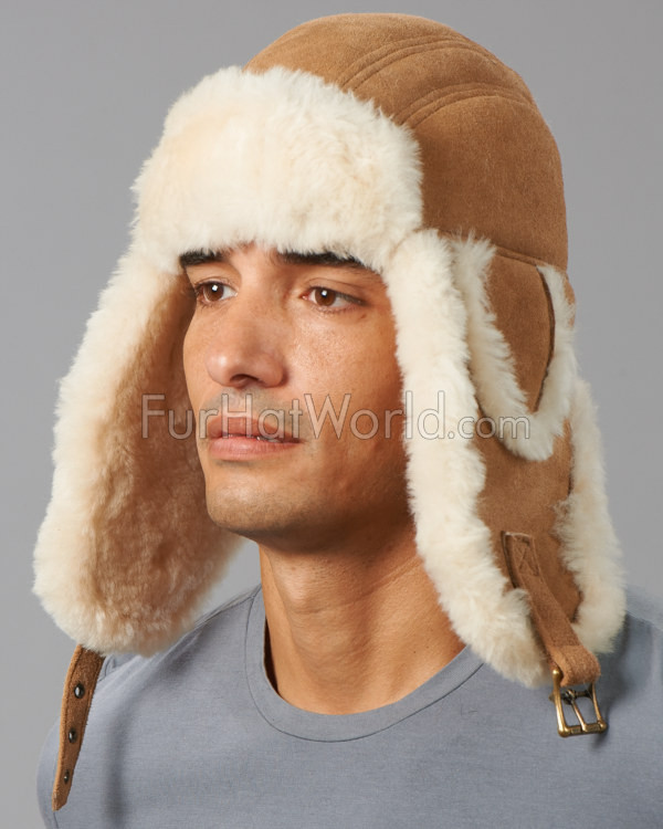 Ultimate Shearling Sheepskin Aviator Hat - Camel