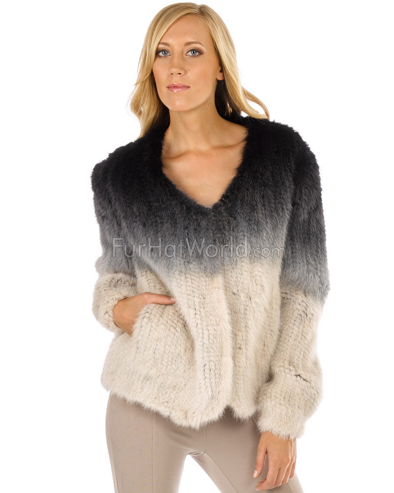 Alexa V-Neck Ombre Knitted Mink Sweater Jacket