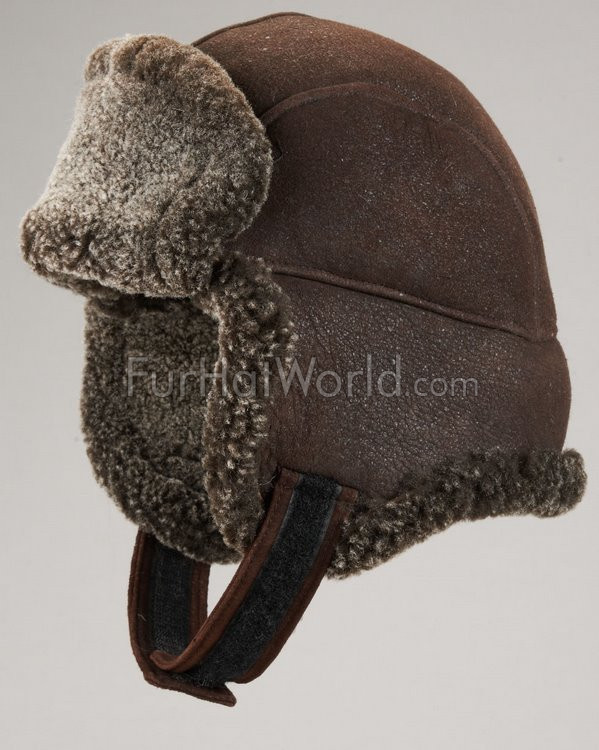 Frosted Shearling Sheepskin Trapper Hat - Brown