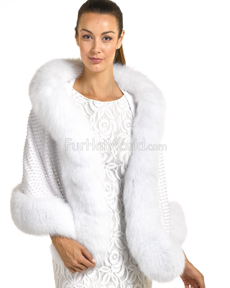 Aaliyah Cape with Swarovski Crystals & Fox Fur Trim