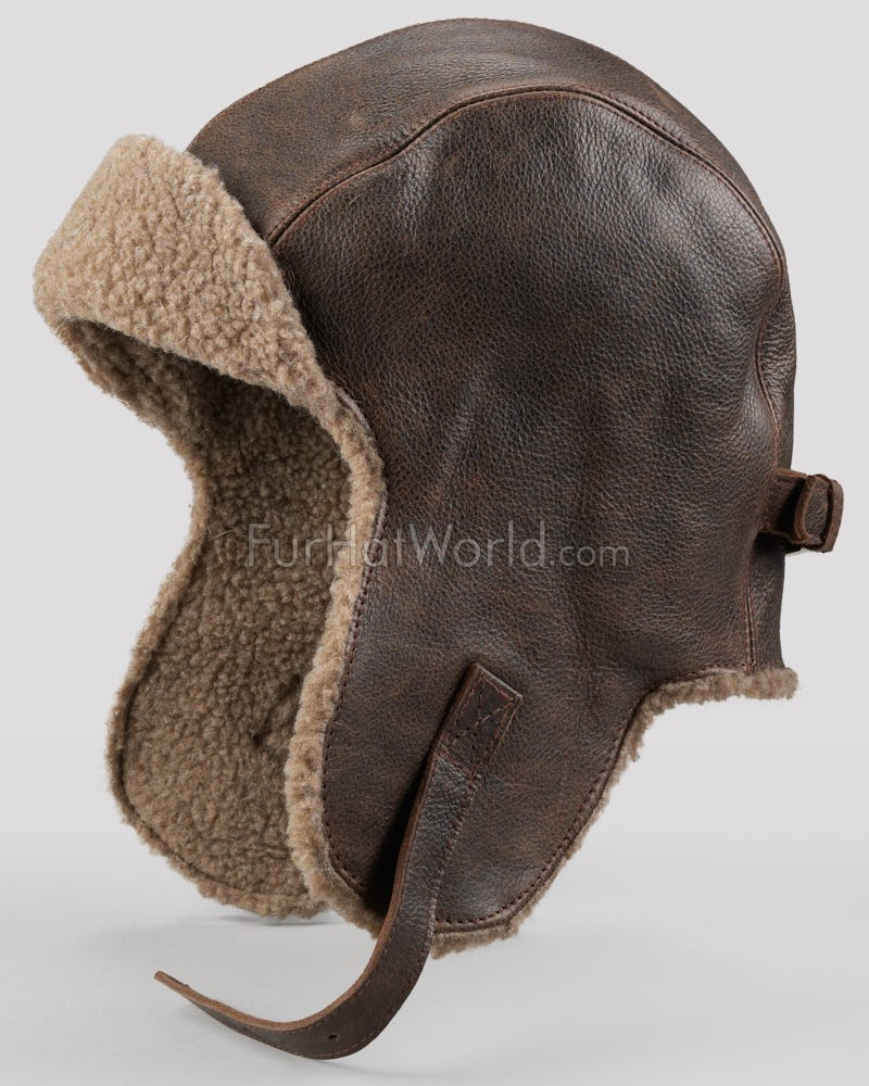 Vintage Distressed Leather Pilot Hat for Men  FurHatWorld.com c3def3bbcc0