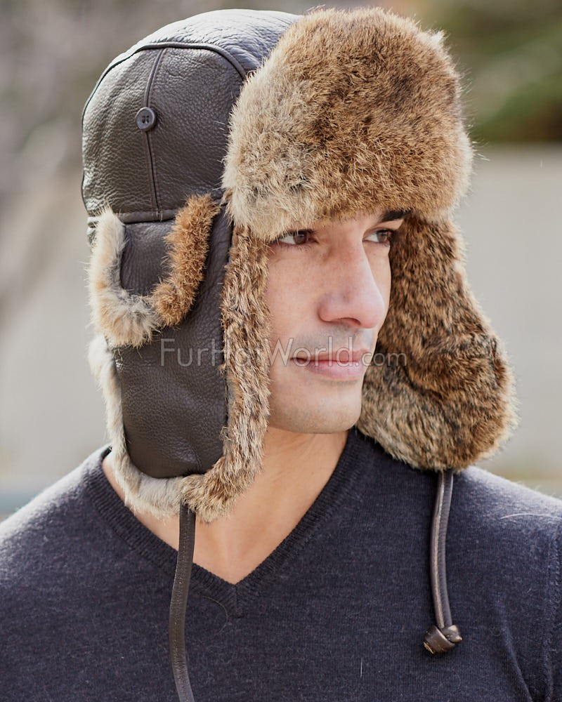 Vintage Rodeo Leather Rabbit Fur Aviator Hat - Brown