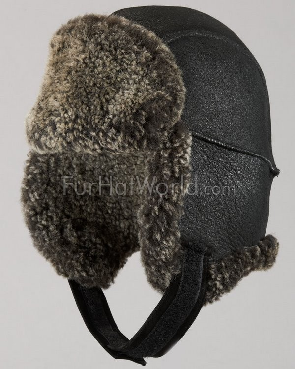 Frosted Shearling Sheepskin Trapper Hat - Black