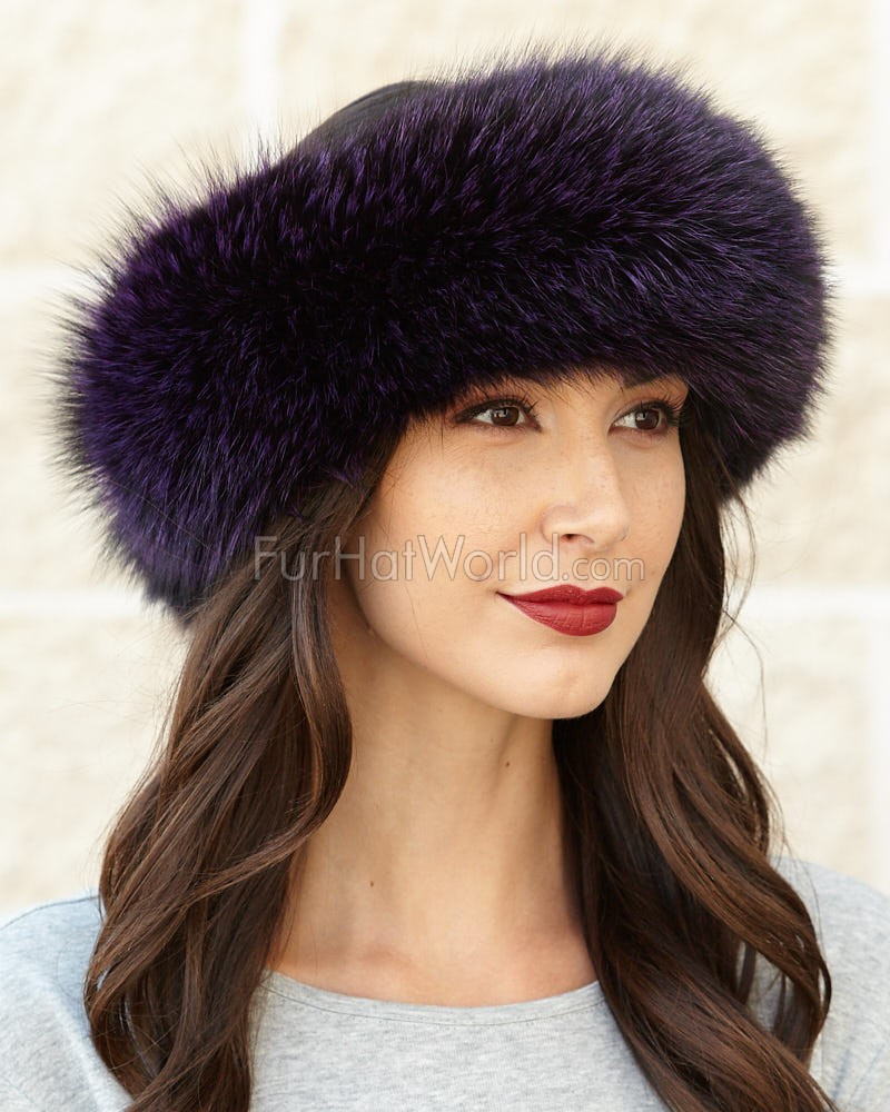 Violet Fox fur Headband
