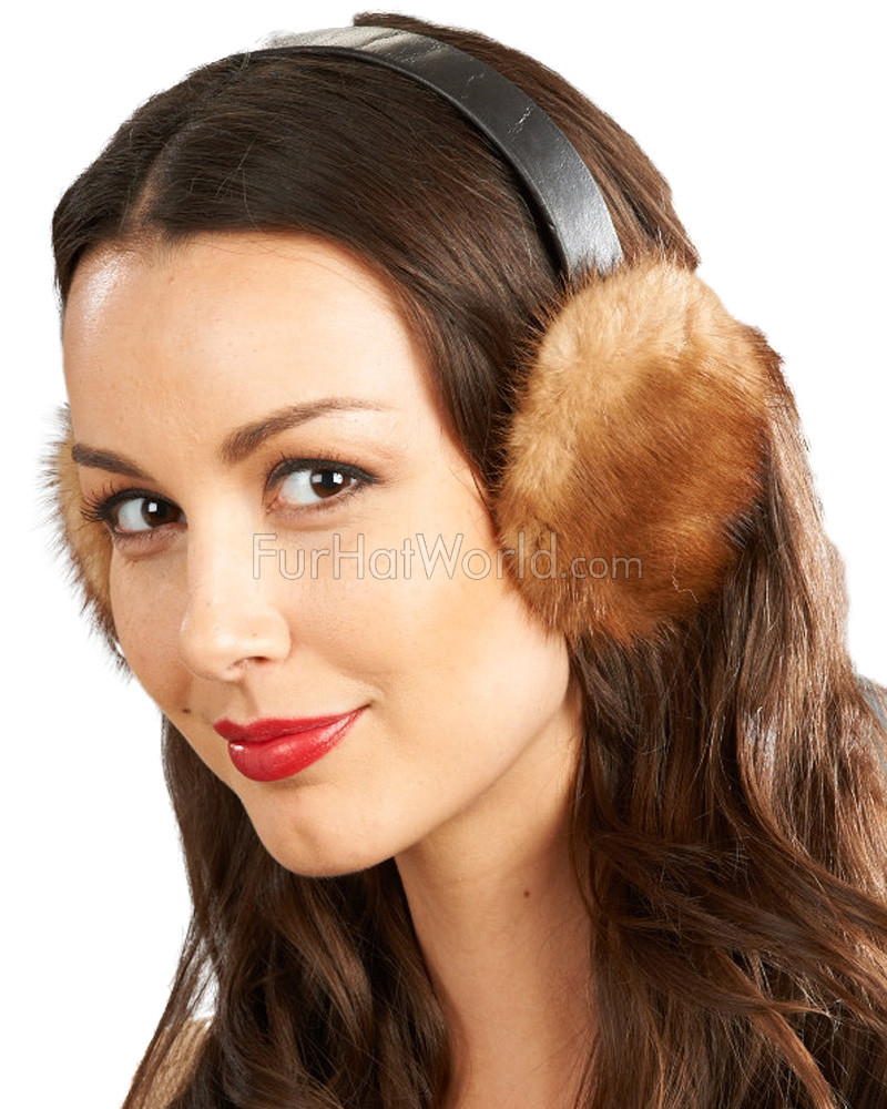 Mink Fur Earmuffs with Soft Leather Head Band - Whiskey