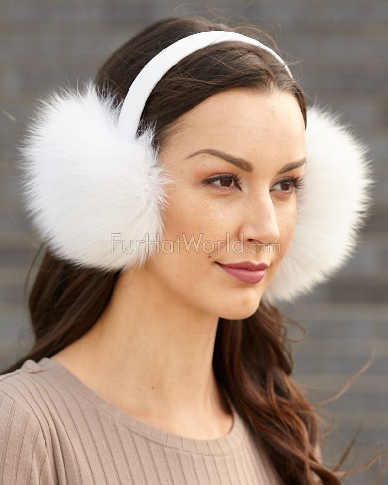 White Fox Fur Ear Muffs with Leather Band