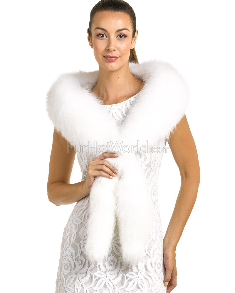 Cecilia White Fox Fur Fling with Tails