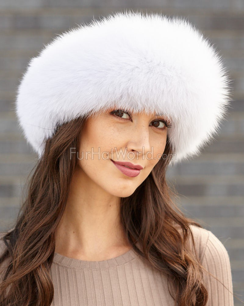 White Fox Fur Headband  FurHatWorld.com fa012e9ff01
