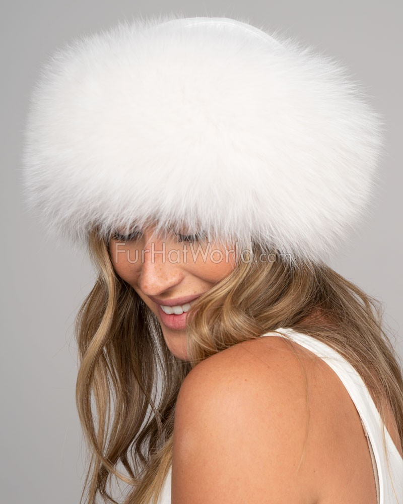 White Fox Fur Roller Hat with Leather Top