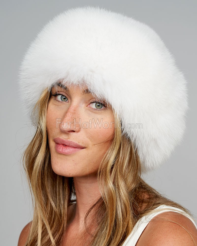 Raylene White Fox Fur Roller Hat with Mink Top