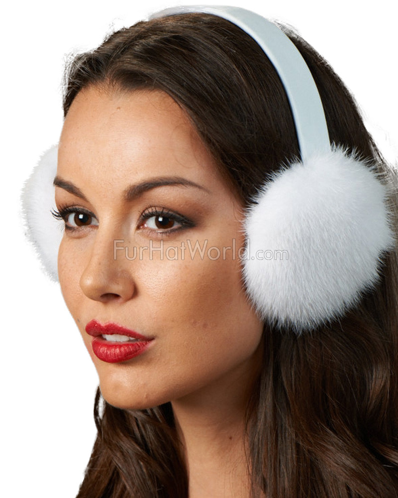 Winter White Mink Fur Earmuffs with Leather Head Band