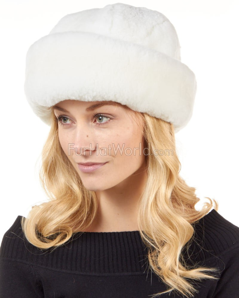 White Sheepskin Fleece Cloche Hat