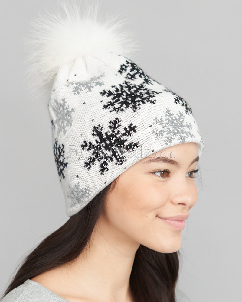 White Snow Flake Sparkle Beanie Hat with Finn Raccoon Pom Pom