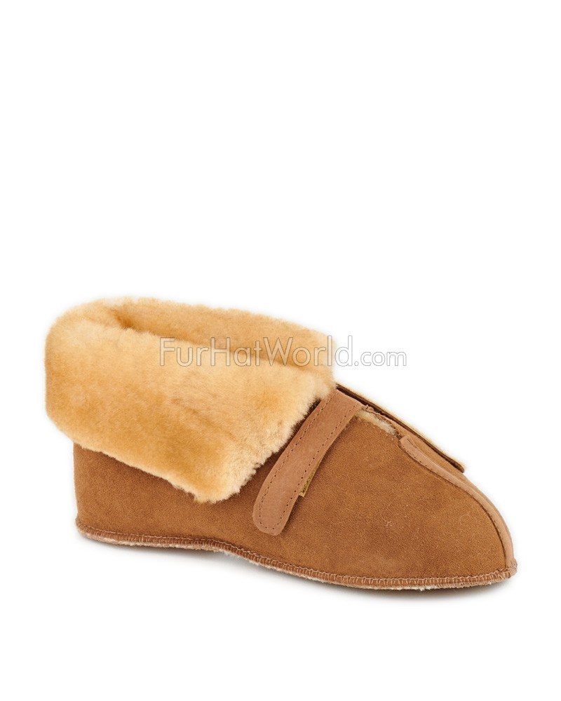Sheepskin Cabin Slippers with Velcro Closures and Roll up Cuff