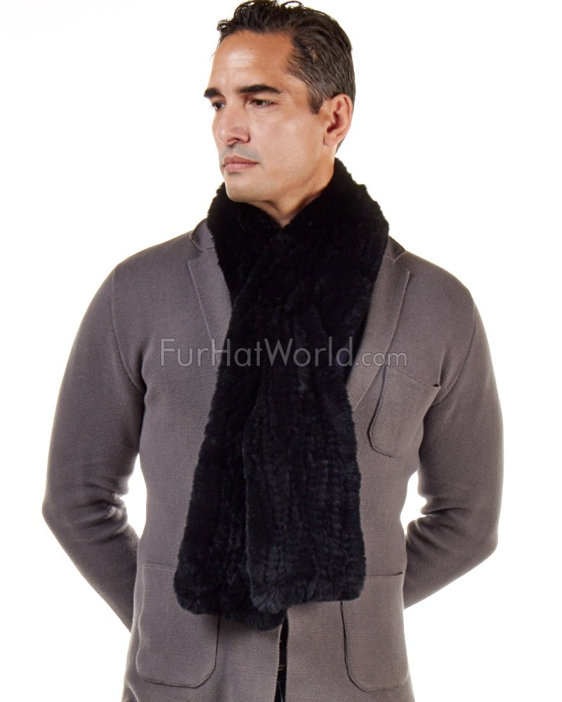 Wide Rex Rabbit Fur Pull Through Scarf - Black