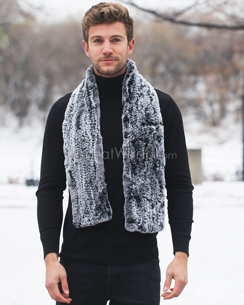 Wide Rex Rabbit Fur Pull Through Scarf - Black Frost
