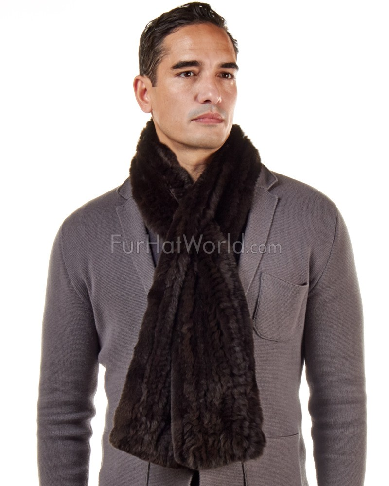 Wide Rex Rabbit Fur Pull Through Scarf - Brown