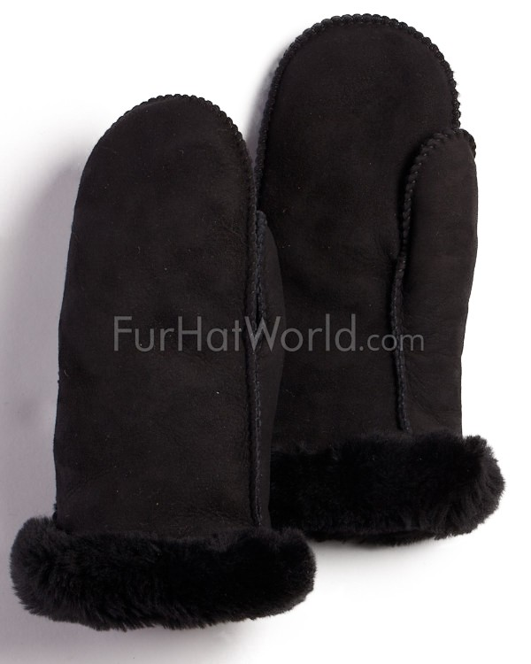 Womens Alaska Shearling Sheepskin Mittens - Black