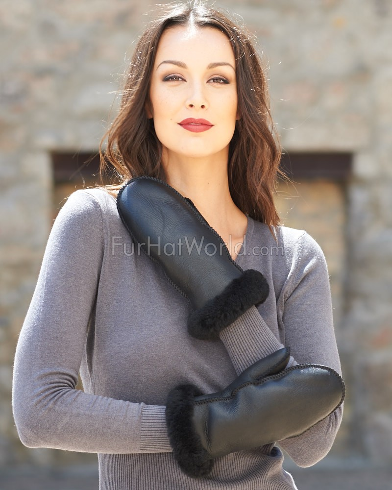Womens Alaska Shearling Sheepskin Mittens - Black Napa