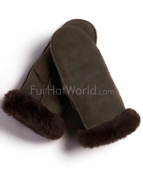Womens Alaska Shearling Sheepskin Mittens - Brown