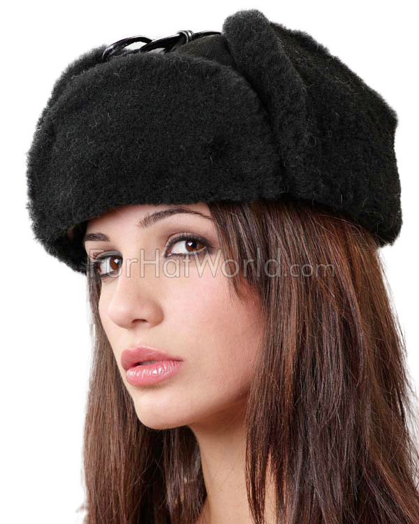 Womens Alaska Shearling Sheepskin Trapper Hat - Black