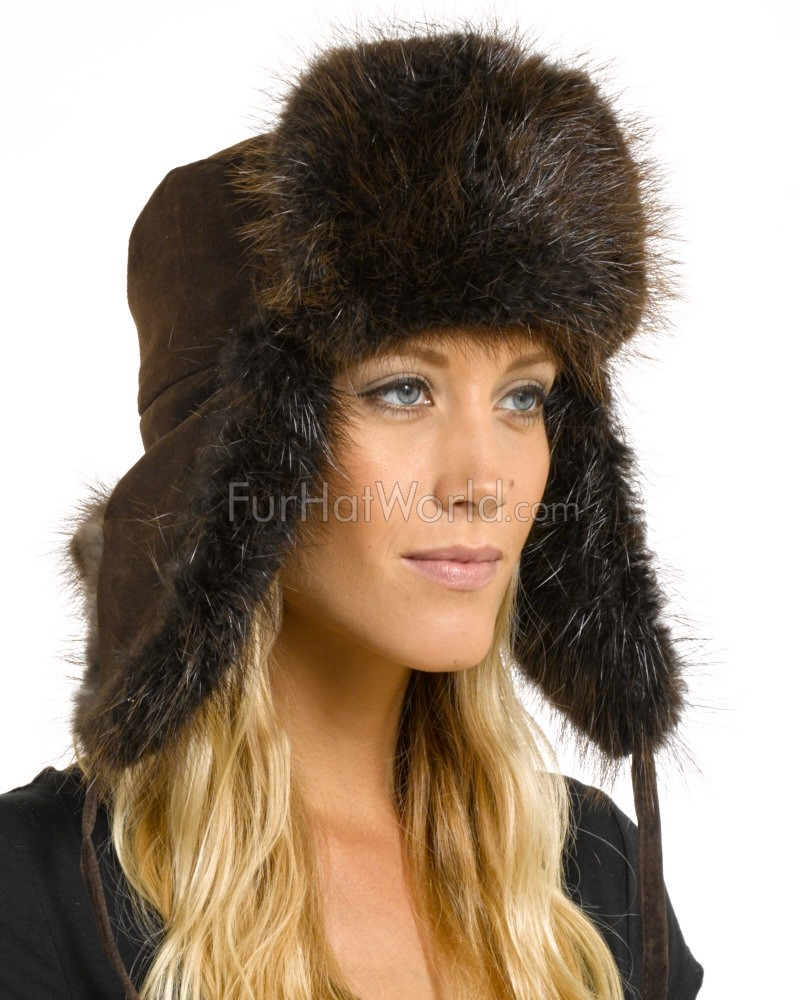 Womens Beaver Fur & Suede Russian Officer Hat