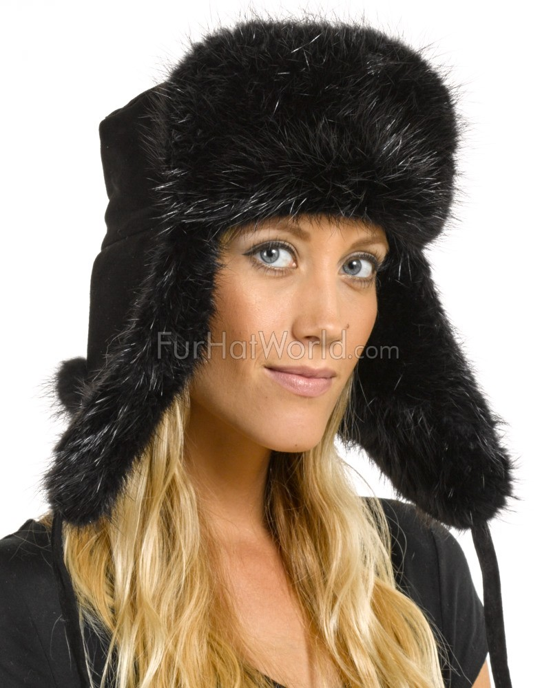 Womens Black Beaver Fur & Suede Russian Officer Hat