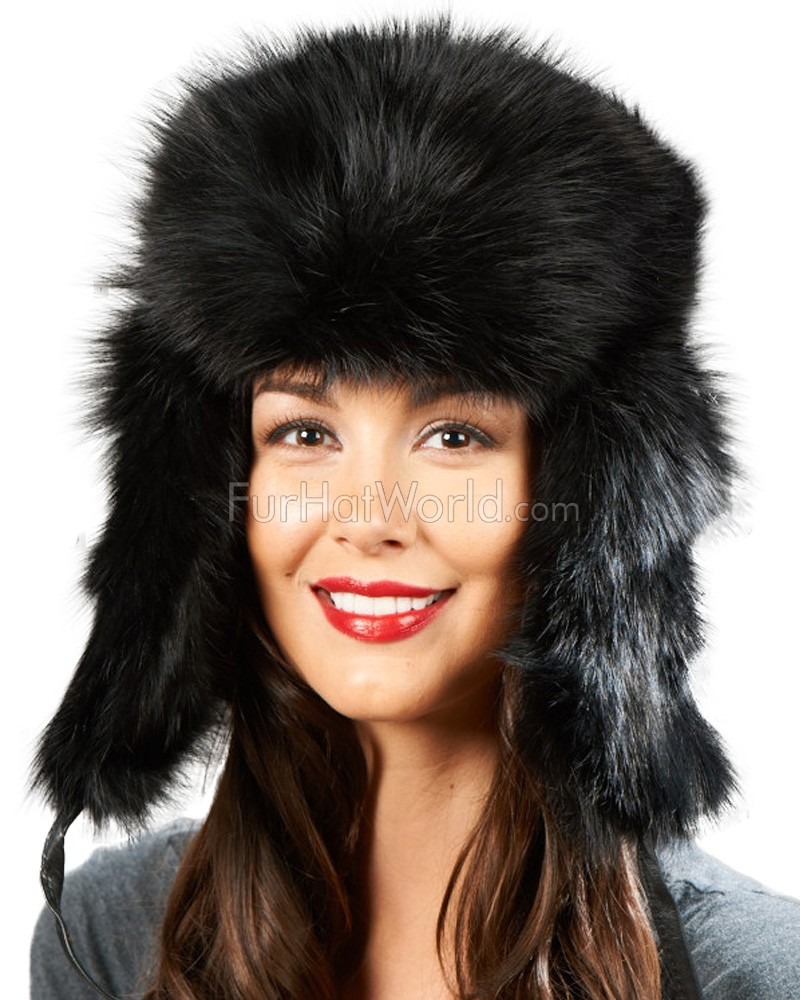 Womens Black Fox Full Fur Russian Hat